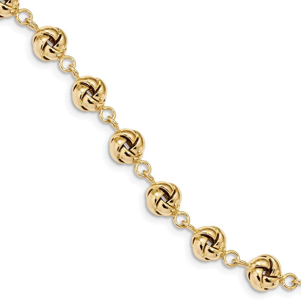 Solid 14k Yellow Gold Polished Love Knot 7in Bracelet 7'' - with Secure Lobster Lock Clasp (8.3mm)