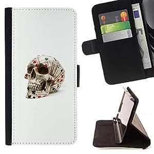 Ihec-Tech / Negro Flip PU Cuero Cover Case para Samsung Galaxy S4 IV I9500 - Poker Tarjetas Cráneo de juego de Las Vegas