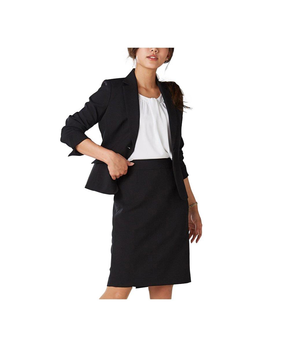 (ニッセン) nissen オフィススーツ スカートスーツ 上下 セットアップ 洗える オールシーズン 定番 (ひざ上丈 50cm) レディース B07BZH5VHD 15号|ブラック無地 ブラック無地 15号