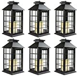 Seraphic Black Metal Lantern with Flickering Flameless LED Candle, Case of 6