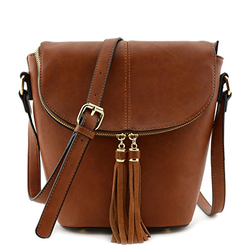 Flap Top Bucket Crossbody Bag with Tassel Accent Brown