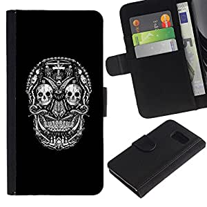 iKiki Tech / Cartera Funda Carcasa - Black Skull Cross Death Metal Rock - Samsung Galaxy S6 SM-G920