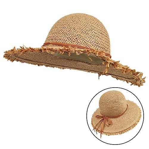 (LETHMIK Womens Summer Straw Hat Scattered Edge Ladies Beach Sun Hat Floppy Wide Brim Hat Khaki )