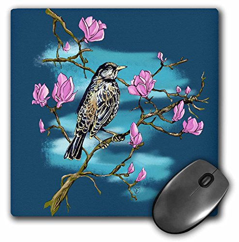 3dRose Justas Vebra Art - Nature And Ornaments - Happy bird in Spring with Sakura blossoms - MousePad (Spring Air Natures Rest)