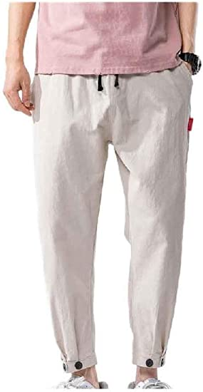Tootess Men's Summer Harem Plus-size Trousers Casual Palazzo Wide Leg Pants