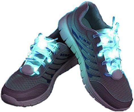 1stモール 夜 の ランニング に 最適 LED 搭載 光る 魔法 の 靴ひも 靴紐 左右 セット [ ブルー ] ナイロン 防犯 イベント フェス パーティー ブレスレット ハロウィン パーティー ライブ コンサート 夜間 ウォーキング スケボー ダンス ファッション スニーカー アクセサリー コスチューム キッズ 子ども ST-MAHOKUTU-BL
