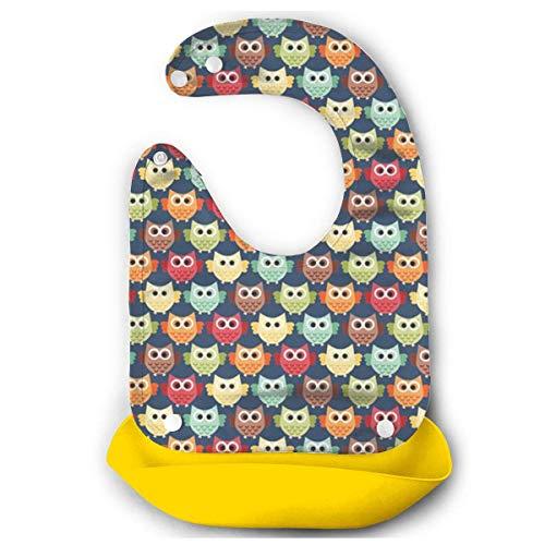 RS-pthrAD!!! Baby Imitation Silicone Stereo Rainbow Unicorn Saliva Pocket Children Rice Bib Saliva Pocket Washable -