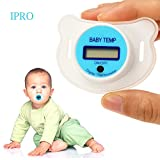 Baby Pacifier Thermometer,IPRO Digital Newborn Infant Soft Silicon Mouth Nipple Soother Healthy Safe Electronic Waterproof Temperature Check Meter LCD Display (S-Blue)