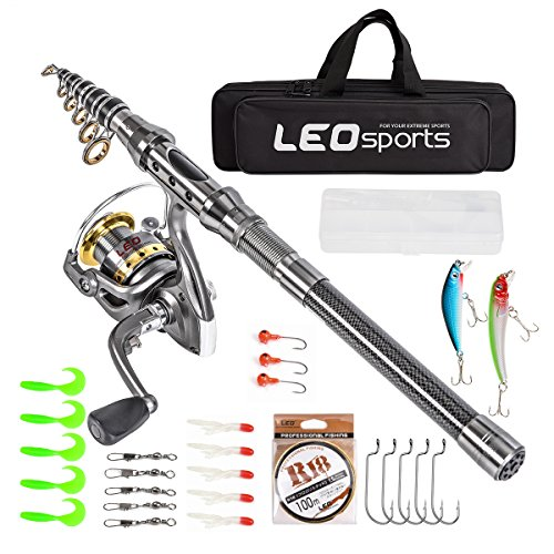 Kit Fishing Telescopic (LEO Telescopic Fishing Rod and Reel Combos with Full Kids and Carrier Bag Carbon Fiber Fishing Pole for Travel Saltwater Freshwater Fishing (Fishing Full Kits with Carrier Case, 1.5m / 4.92 ft))