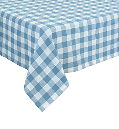 Merveilleux Xia Home Fashions Gingham Check Tablecloth, 65 By 108 Inch, Blue