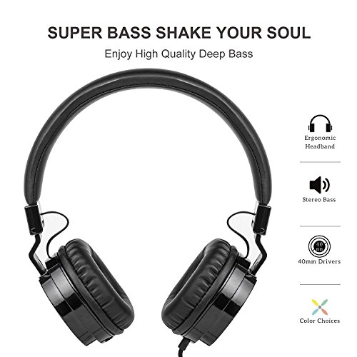 Picun Wired Headphones with Microphones for Computer Smartphones Tablet Laptop MP3/4,Earphones Over Ear Stereo Headsets with Deep Bass for Kids Teens Adults Black by Picun (Image #1)