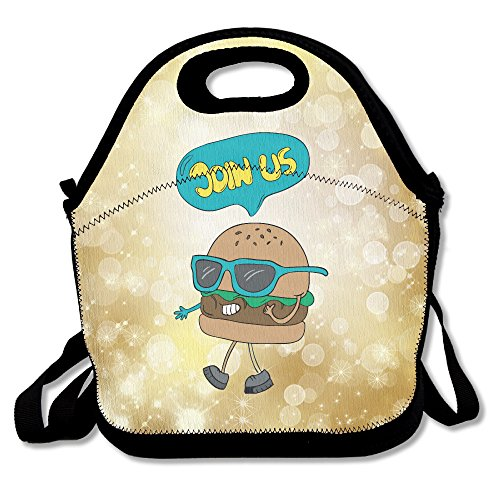 (Cute Hamburger Join Us Lunch Box Bag For Kids And Adult,lunch Tote Lunch Holder With Adjustable Strap For Men Women Boys Girls,This Design For Portable, Oblique Cross,double)