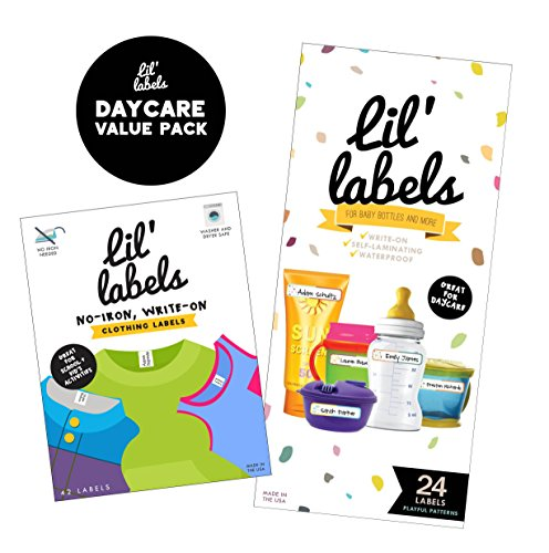 (Lil' Labels Daycare Value Pack Write on Name Labels, Waterproof, Baby Bottle Labels (Playful Patterns) & Clothing Labels, Plus 2 Bonus Gifts, Bright White )