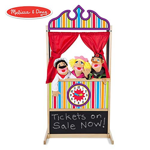 - Melissa & Doug Deluxe Puppet Theater (Sturdy Non-Tip Base, Plush Curtains, 52 ″ H × 18″ W × 24.75″ L)