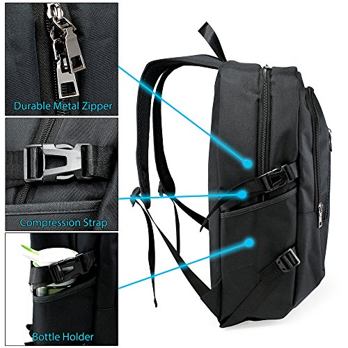 Oct17 Business Laptop Backpack, Slim Anti Theft Computer Bag, Water-resistent College School Backpack with Headphone Port, Eco-friendly Travel Shoulder Bag with USB Charging Port Fits UNDER 17 - Black by Oct17 (Image #3)