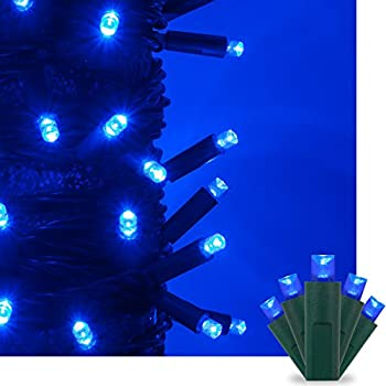 Blue LED Christmas Mini String Light Set, 50 5mm Lights, Indoor / Outdoor Christmas Light Decorations, 120V UL Certified, Green Wire