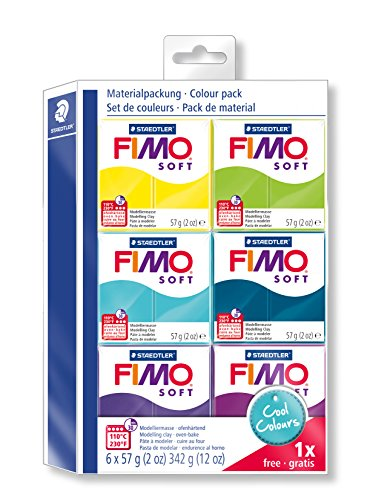 STAEDTLER Fimo Soft 8023 24 Modelling Clay 6 Regular Pads Cool Color