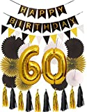 MEANT2TOBE 60th Birthday Party Decorations KIT | Happy Birthday Black...