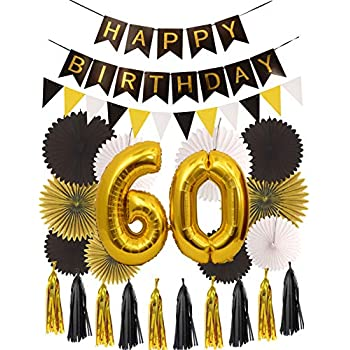 09269fb7 60th Birthday Party Decorations KIT   Happy Birthday Black Banner  60th  Gold Number Balloons Gold and Black  Number 60   Perfect 60 Years Old Party  Supplies ...