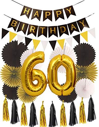 MEANT2TOBE 60th Birthday Party Decorations KIT | Happy Birthday Black Banner| 60th Gold Number Balloons Gold and Black| Number 60 | Perfect 60 Years Old Party Supplies (Wall Decoration)]()