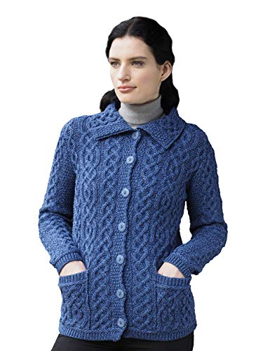 Aran Crafts Knitted Button Up Cardigan - Wool XXL Marl Blue (X4801-XXL-BLU) ()