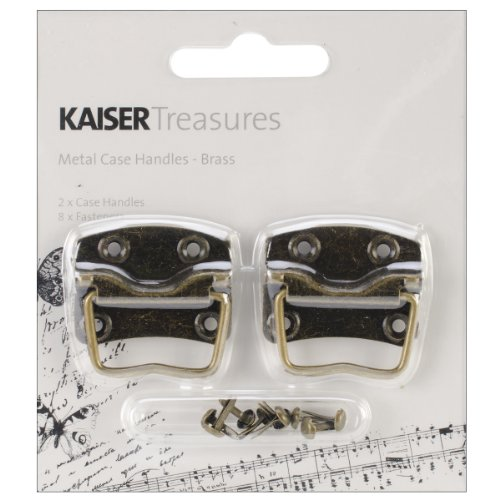 Kaisercraft Treasures Metal Case Handle with Backplate, 1.25 x 0.875-Inch, Antique Brass, 2-Pack