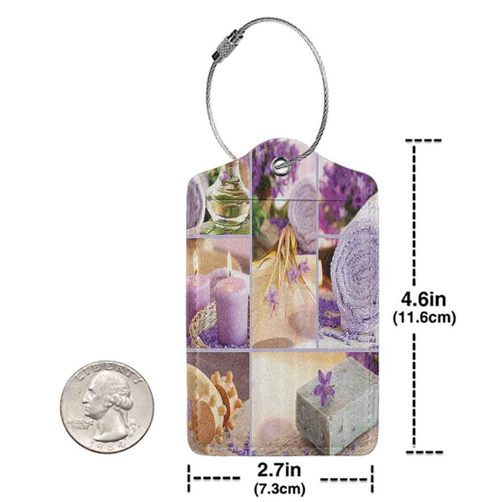 Durable luggage tag Spa Decor Lavender Themed Relaxing Joyful Spa day with Aromatherapy Oils and Candles Unisex Purple and White W2.7 x L4.6