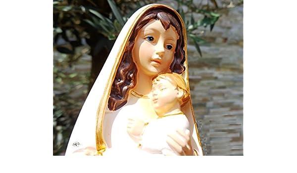 40 - 42 cm árbol - pintadas a mano MADONNA, blanco/oro, Santa María - gran madre de Dios con niño, con traje blanco/capa, dobladillo colores oro, ...