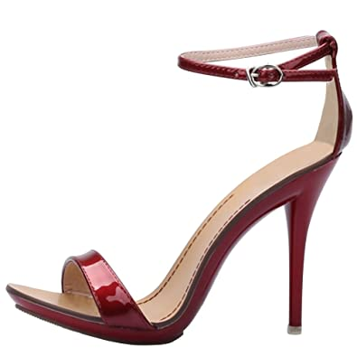 af2068003528 OCHENTA Women s Classic Dancing Stiletto High Heel Open Toe Ankle Strap  Sandals Wine red Size US 7-UK 5  Amazon.co.uk  Shoes   Bags