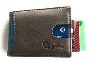 RUSTYGEAR Men's Wallet - Genuine Leather Wallet Slimline with RFID Protection & MoneyClip