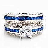 AMiERY-Women-18KGP-Princess-Cut-CZ-Blue-Sapphire-Wedding-Anniversary-Engagement-Bridal-Rings-Set