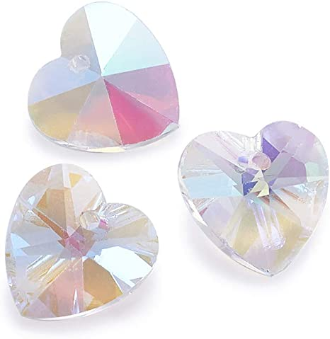 Lots Faceted Heart Charms Crystal Glass Bead 14mm Spacer Earring Bracelet Making