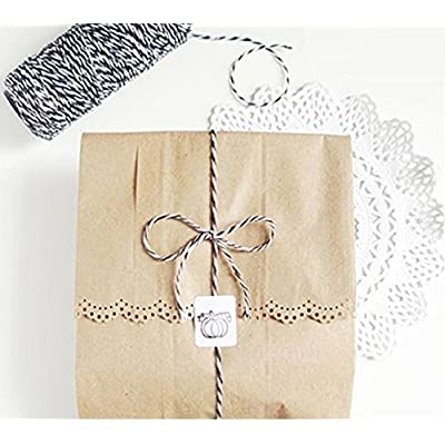 Bakers Twine Black and White, LaZimnInc Cotton Twine Packing String for Gardening, Decoration, Tying Cake and Pastry Boxes, Silverware, DIY Crafts & Gift Wrapping, Art and Crafts (2 mm/328Feet) : Office Products
