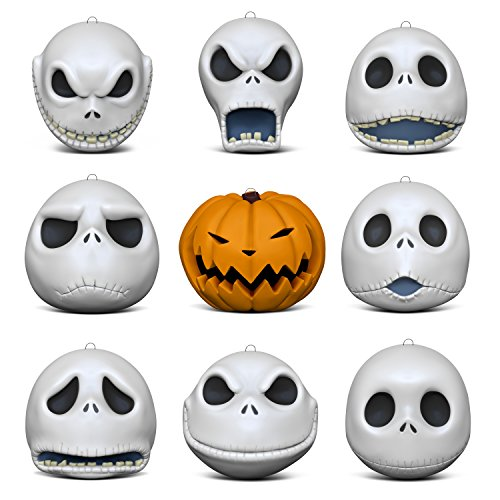 Hallmark Keepsake Christmas Ornaments 2018 Year Dated, Tim Burton's The Nightmare Before Christmas The Many Faces of Jack Skellington 25th Anniversary, Porcelain, Set of 9 -