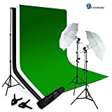 Limo Studio Photography Chroma key Studio Backdrop Lighting Kit Set, White Black Green Chroma key Muslin Backdrops, (2) Umbrella Reflector Studio Lighting, Backdrop Support Stand with Carry Bag, AGG797V2