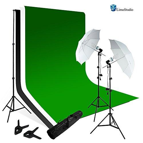 Limo Studio Photography Chroma key Studio Backdrop Lighting Kit Set, White Black Green Chroma key Muslin Backdrops, (2) Umbrella Reflector Studio Lighting, Backdrop Support Stand with Carry Bag, AGG797V2 by LimoStudio