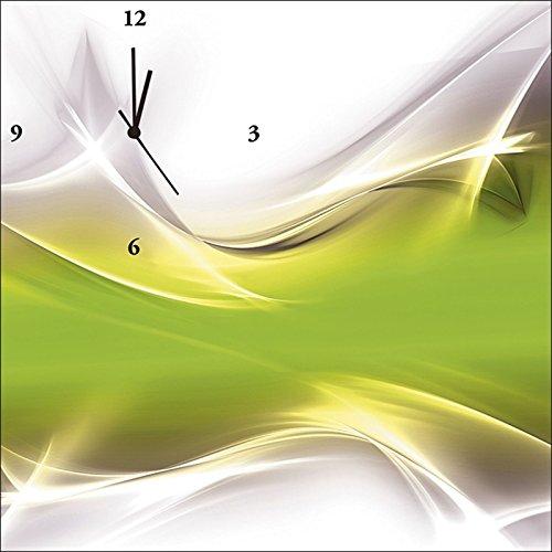 Artland Analoge Wand-Funk-oder Quarz-Uhr Digital-Druck Leinwand auf Holz-Rahmen gespannt mit Motiv Designus Kreatives Element Grün für Ihr Art-Design Abstrakte Motive Digitale Kunst Grün C0PO