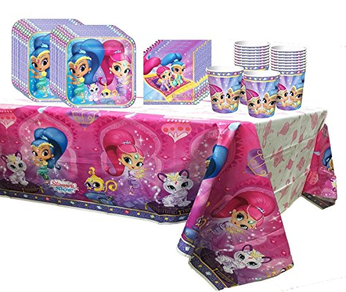 (Party Pack for 16 Shimmer and Shine Birthday Party Supplies Plates, Napkins, Cups, Tablecover)