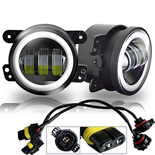 AUSI White Halo Ring 4 inch Round Led Fog Lights Offroad Lamps Front Bumper Lights DRL for Sahara Rubicon Subaru Impreza Willy's Jeep Wrangler JK JKU TJ LJ Deff Grand Cherokees Dodge Charger Magnum