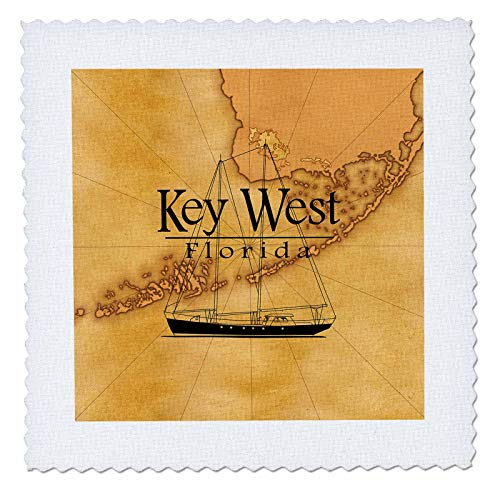3dRose Macdonald Creative Studios - Florida - Vintage Style Nautical map and Sailboat for Key West Florida. - 22x22 inch Quilt Square ()