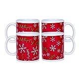Merry Christmas Snowflake Red 10 Ounce Ceramic Holiday Coffee Mug Set of 4