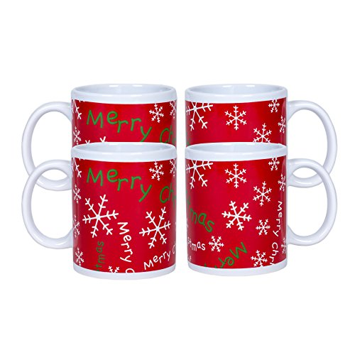 Merry Christmas Snowflake Red 10 Ounce Ceramic Holiday Coffee Mug Set of 4 (Mug Christmas Snowflake)