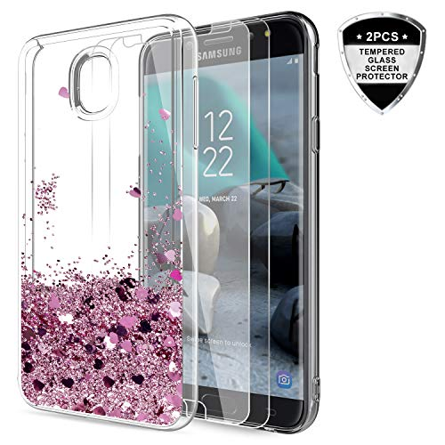 Galaxy J7 Refine/J7 2018/J7 Star/J7 Top/J7 Aura/J7 Aero/J7 Crown/J7 Eon Glitter Case with Tempered Glass Screen Protector for Girls Women,LeYi Bling Liquid Case for Samsung J7 V 2nd Gen ZX Rose Gold