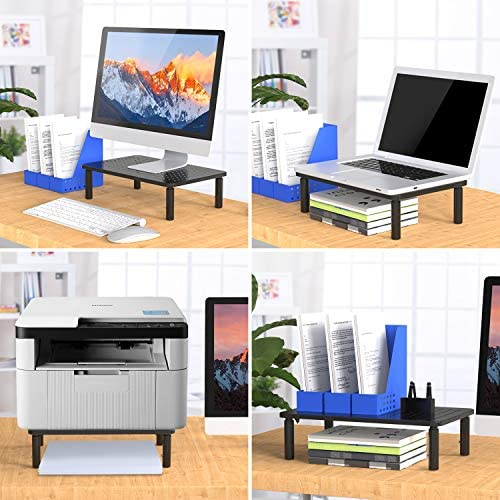 Monitor Stand Riser - 3 Height Adjustable Monitor Stand for Laptop, Computer, iMac, PC, Printer, Desktop Ergonomic Metal Monitor Riser Stand with Mesh Platform for Airflow through HUANUO