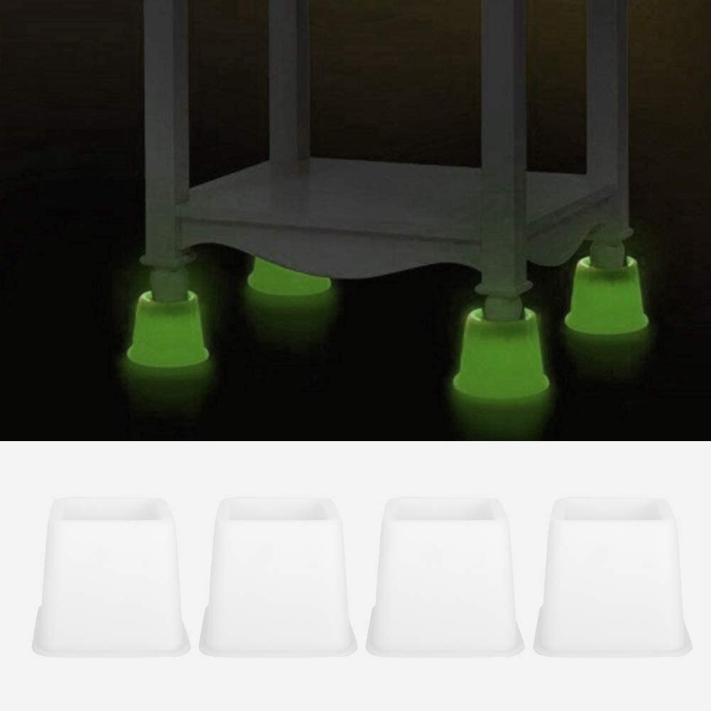 Bed Riser White Furniture Riser Bed Raiser 4pcs Bed Chair Riser Furniture Sofa Lifter Raising Tool Light Set