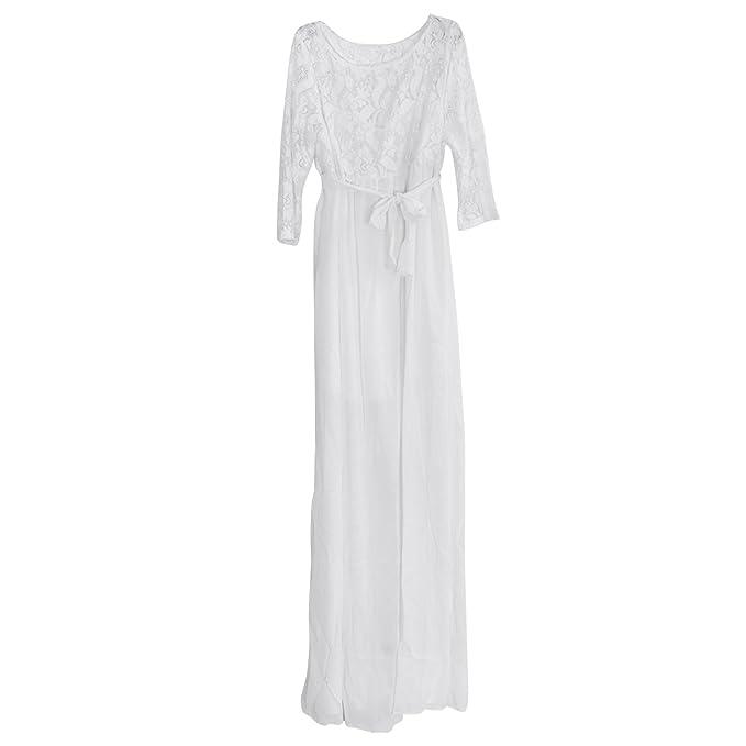 LUOEM Vestido Largo de Gasa Mujer Encaje Costura de Verano Flojo tamaño XL (Blanco)