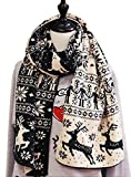 Kennedy Fashion Couple Warm Scarf Christmas Snowflake Elk Knitted Scarf Thicken Wrap Shawl