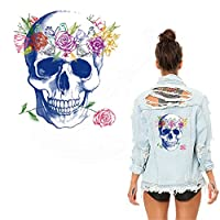 Toonol Garland Skull 26X24cm Flower Patches for Clothing Jacket T-shirt Thermal Transfer Can Washing