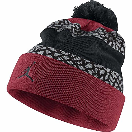 Jordan Men's Pom Cuff Black/Red Banner Elephant Beanie Hat OS