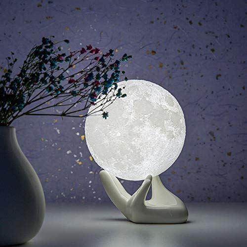 BRIGHTWORLD Moon Lamp, 3D Printing Lunar Lamp Night Light with White Hand Stand as Kids Women Girls Gift, USB Charging Touch Control Brightness Two Tone Warm Cool White 3.5IN